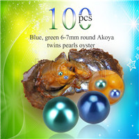 Newest 6-7mm Blue Green saltwater round Akoya twin pearls oyster 100pcs