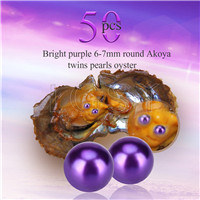 Newest 6-7mm Bright purple saltwater round Akoya twin pearls oyster 50pcs