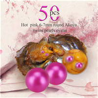 Newest 6-7mm Hot pink saltwater round Akoya twin pearls oyster 50pcs