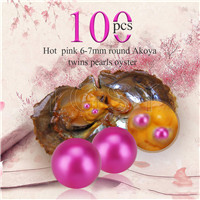 Newest 6-7mm Hot pink saltwater round Akoya twin pearls oyster 100pcs