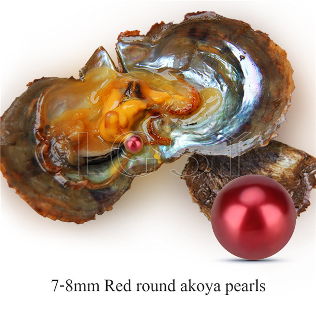 Popular 7-8mm Red saltwater round Akoya pearls oyster 30pcs