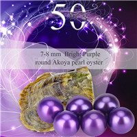 Popular 7-8mm Bright purple saltwater round Akoya pearls oyster 50pcs