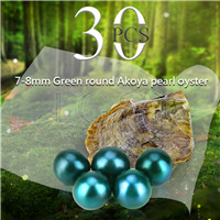 Newest 7-8mm Green saltwater round Akoya pearls oyster 30pcs
