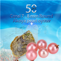 Newest 7-8mm Coral saltwater round Akoya pearls oyster 50pcs