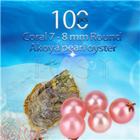 Newest 7-8mm Coral saltwater round Akoya pearls oyster 100pcs