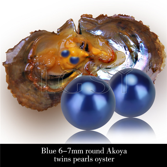 Newest 6-7mm Blue saltwater round Akoya twin pearls oyster 30pcs