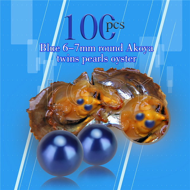 Newest 6-7mm Blue saltwater round Akoya twin pearls oyster 100pcs