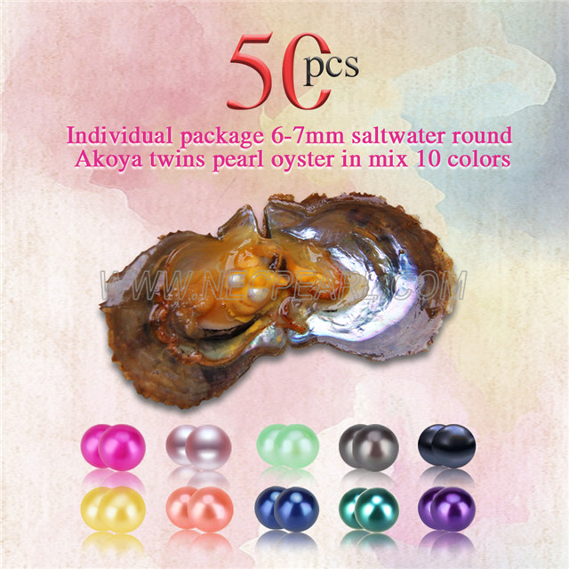 Mixed 10 colors 6-7mm saltwater round Akoya twin pearls oyster 50pcs