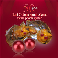 Fashion 7-8mm Red saltwater round Akoya twin pearls oyster 50pcs