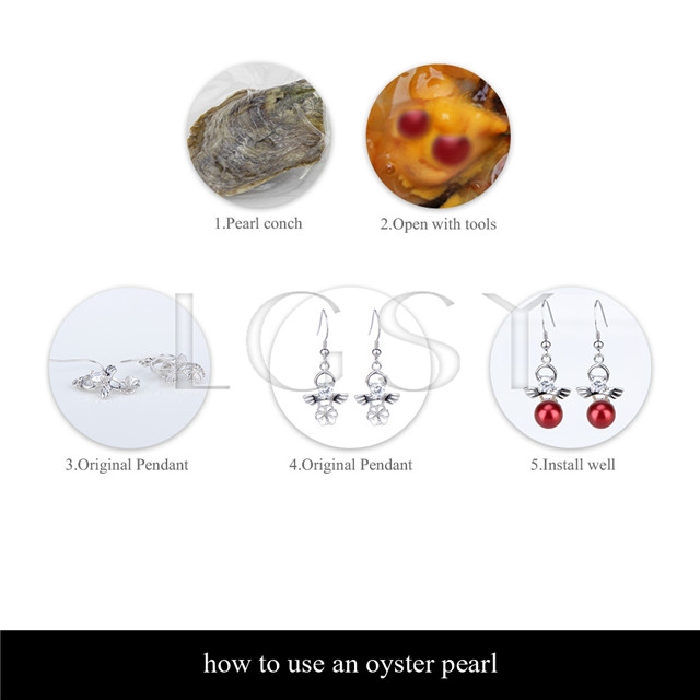 Fashion 7-8mm Red saltwater round Akoya twin pearls oyster 100pcs