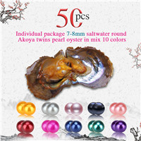 Wholesale 7-8mm Mixed 10 colors round Akoya twin pearls oyster 50pcs