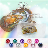 Newest 7-8mm Mixed 10 colors round Akoya pearls oyster 50pcs