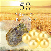 Newest 7-8mm Gold saltwater round Akoya pearls oyster 50pcs