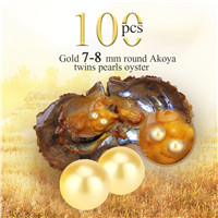 Wholesale 7-8mm Gold round Akoya twin pearls oyster 100pcs