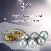 Popular 7-8mm Gray saltwater round Akoya pearls oyster 30pcs