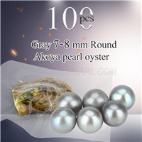 Newest 7-8mm Gray saltwater round Akoya pearls oyster 100pcs